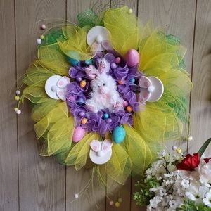 Easter Bunny Daffodil & Easter Eggs Wreath